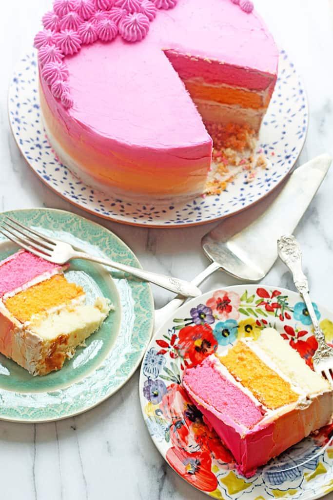 Vanilla Cake Recipe How to Make Ombre Cake 1 683x1024 - How to Make An Ombre Cake with Vanilla Cake Recipe