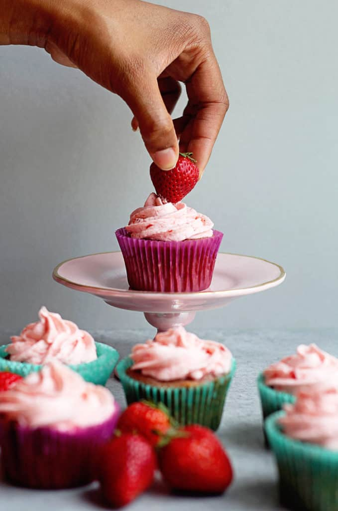 The BEST Strawberry Cupcakes Recipe (from a fresh Strawberry Cake recipe) | Grandbaby Cakes