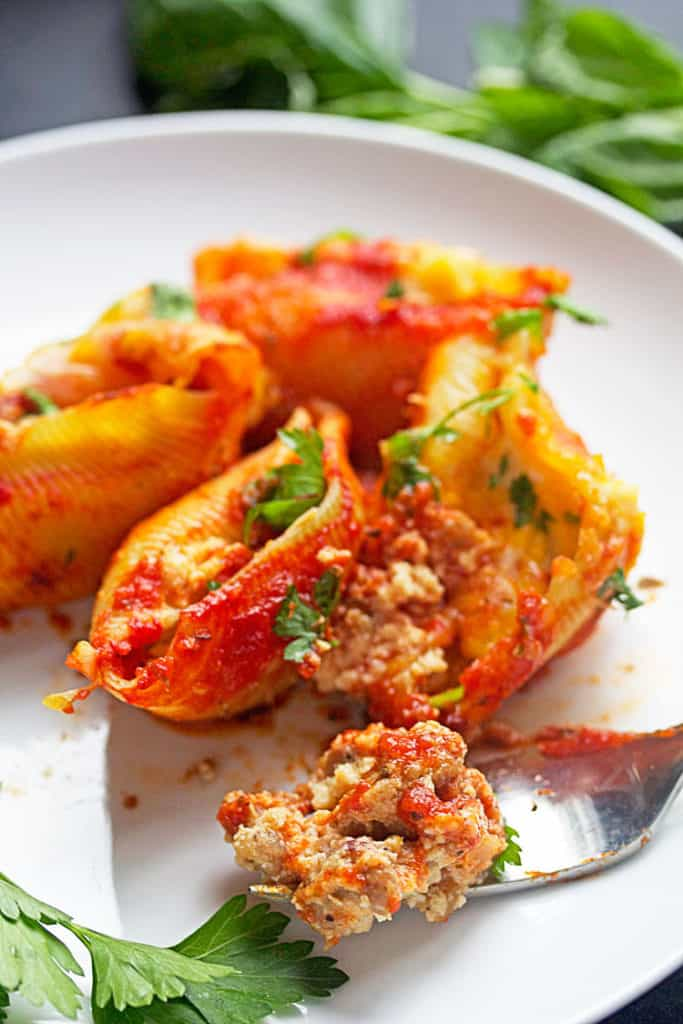 Highlighting the sausage in this delicious stuffed shells recipe.