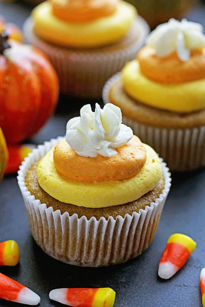 Pumpkin Cupcakes with Candy Corn Buttercream! Perfect for Fall Baking! | Grandbaby Cakes