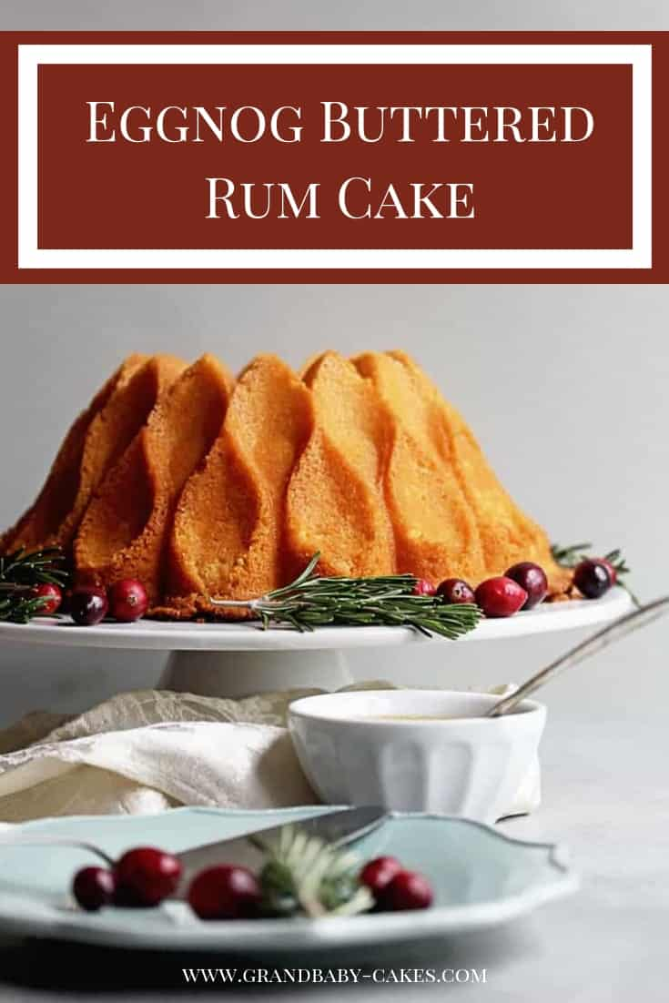 Eggnog Buttered Rum Cake Recipe - A moist and spiced Eggnog Pound Cake gets jazzed up with a sensational buttered rum sauce that soaks into every bite! #cake #poundcake #rum #eggnog #bundt