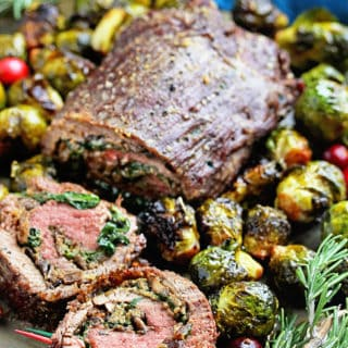 Stuffed Flank Steak Recipe with Roasted Brussel Sprouts