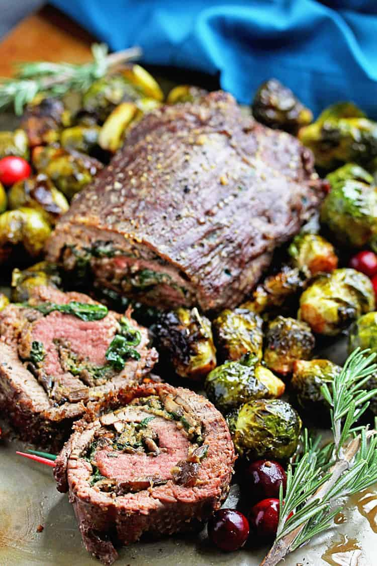 Stuffed Flank Steak Recipe with Roasted Brussel Sprouts Recipe | Grandbaby Cakes