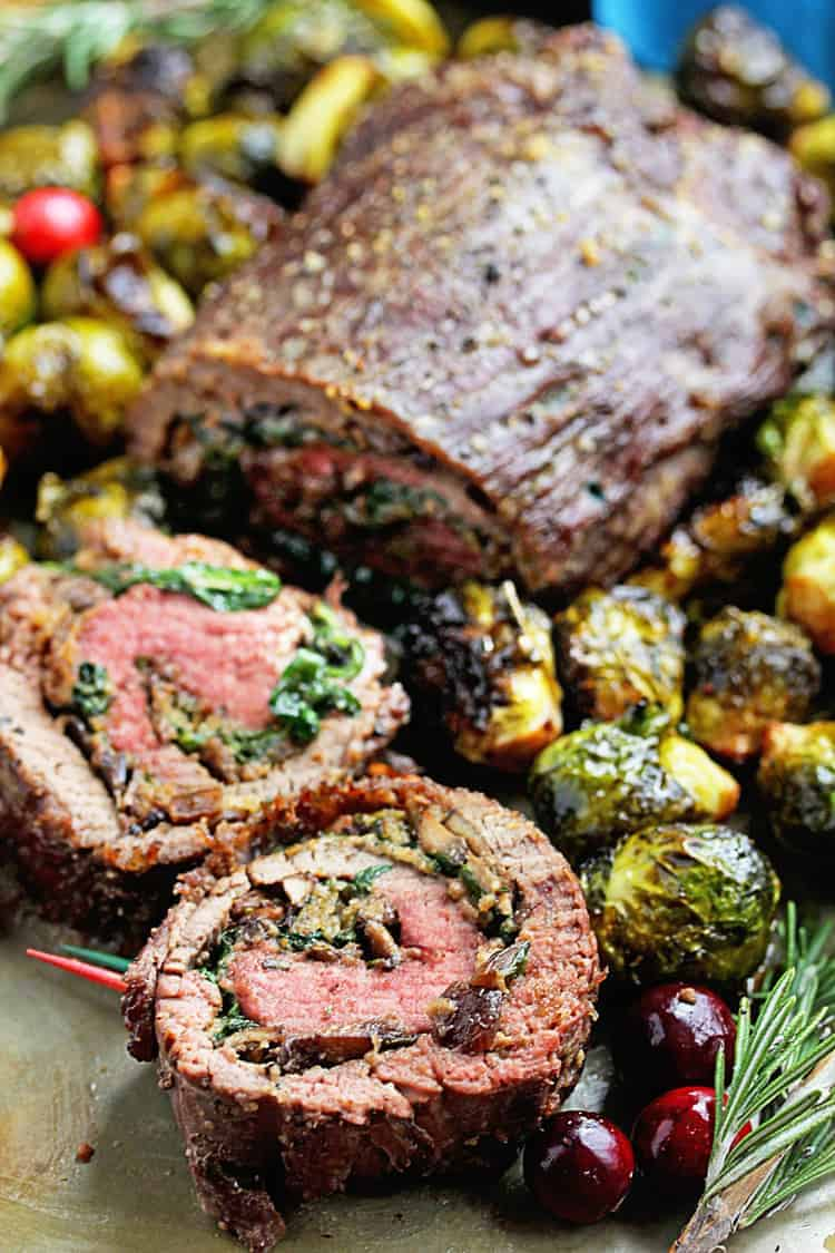 Stuffed Flank Steak Recipe and Roasted Brussel Sprouts Recipe | Grandbaby Cakes