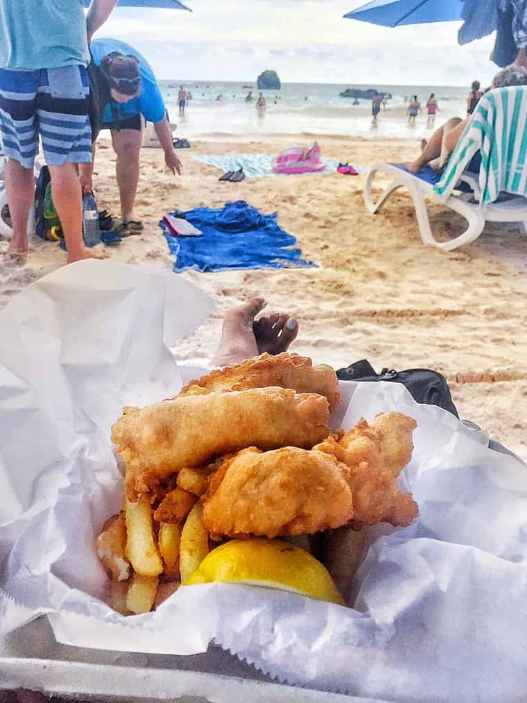Carnival Pride Cruise to Bermuda Part 2 fish and chips at beach - My Carnival Pride Cruise to Bermuda Part 2