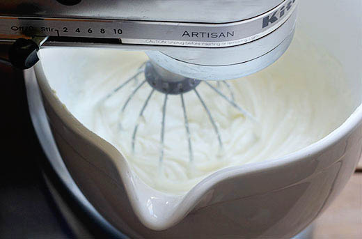 Mixing the cake batter for this easy pound cake recipe.