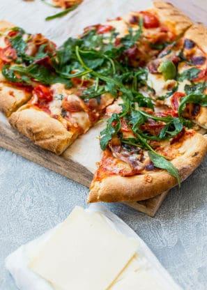 Grilled Prosciutto Arugula Pizza 5 297x416 - Grilled Prosciutto Arugula Pizza Recipe