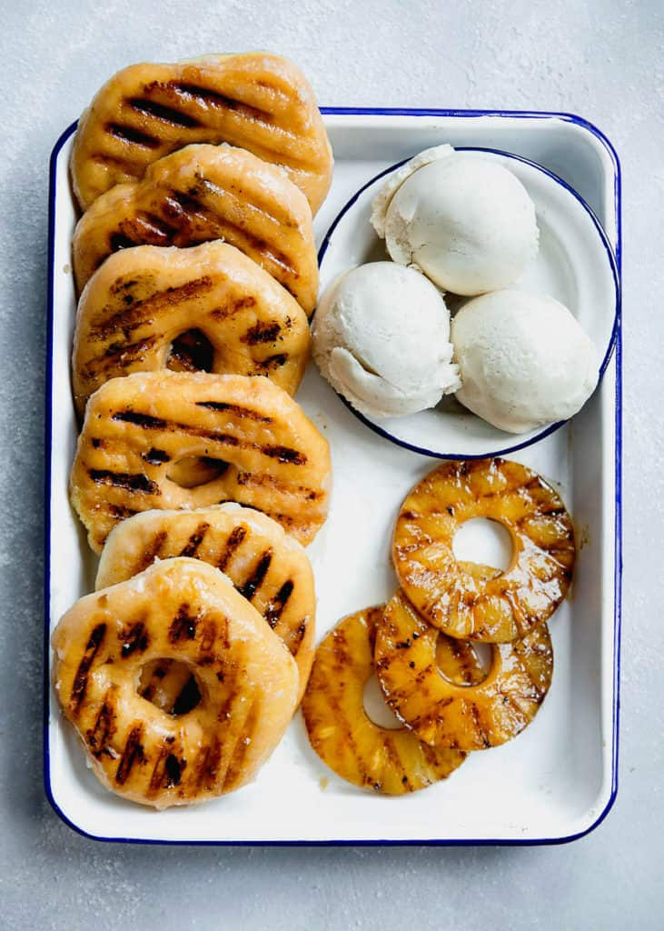 Grilled Pineapple Donut Sundaes Recipe | Grandbaby Cakes