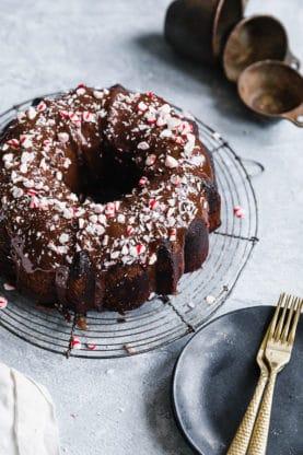 Ultimate Chocolate Pound Cake with Peppermint Ganache Glaze | Grandbaby Cakes