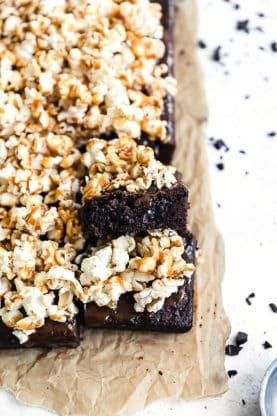 Salted Caramel Popcorn Brownies   Grandbaby Cakes