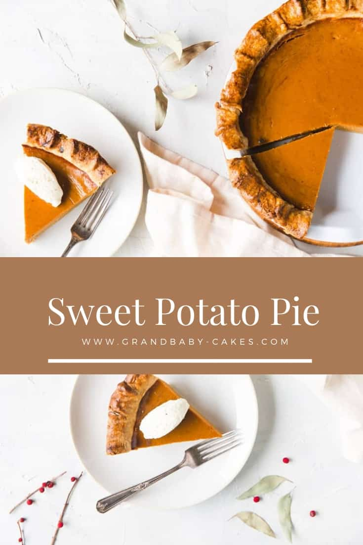 Sweet Potato Pie - A classic pie recipe filled with indulgent fall flavors and spices in a flaky buttery crust. Perfect for the holiday season or Sunday supper dessert! #pie #sweetpotato #thanksgiving