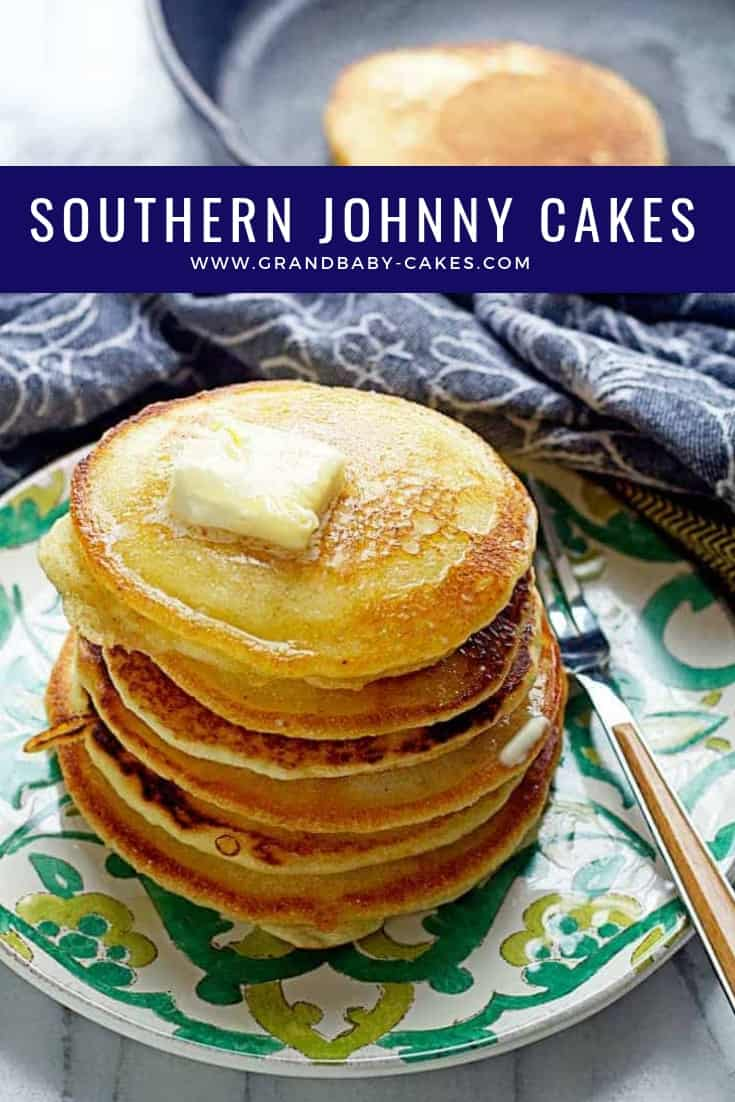 Johnny Cakes or Hoe Cakes are a true Southern delicacy! This Johnny Cake recipe (also known as a fried cornbread) is so easy and perfect for breakfast or anytime of day. #cornbread #cakes #breakfast #southern #southernrecipe #pancakes #hoecakes