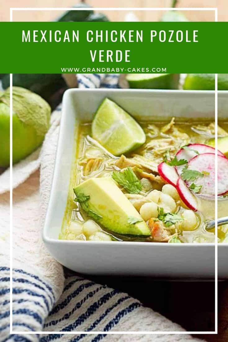 A Traditional Chicken Pozole Verde (Pozole Recipe or Posole) made with comforting hominy, spicy peppers, flavorful chicken and so much love. #pozole #posole #soup #stew #chicken #mexican