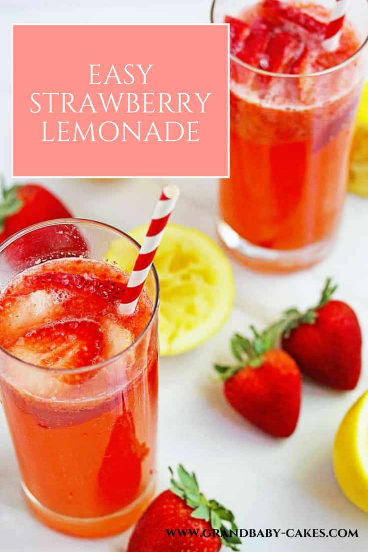 A perfectly tart, sweet, homemade and Easy Strawberry Lemonade Recipe that will make you want to drink from scratch lemonade from now on! #lemonade #strawberry #drink