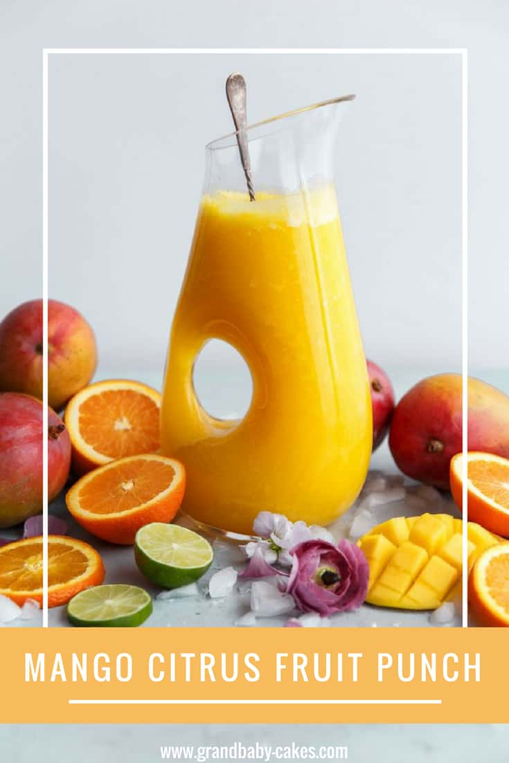 Mango Citrus Fruit Punch Recipe- Learn how to tell if mango is ripe for this refreshing punch recipe made with fresh mango, pineapple and lemon and lime citrus flavors. Perfect for entertaining. #mango #punch #drink #citrus