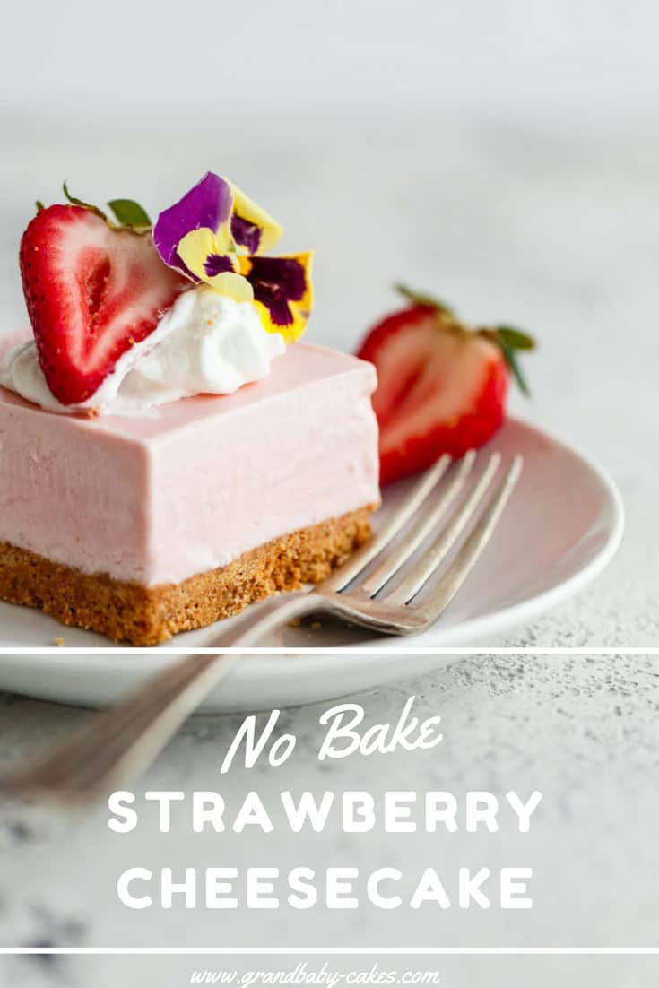 No Bake Strawberry Cheesecake Recipe - The easiest and most delicious strawberry cheesecake bars fit for any celebration.  The filling is absolutely sensational and tastes just like strawberry ice cream.  Addictive!  This Easy Cheesecake recipe is ready to make you a believer! #cheesecake #nobake #strawberry