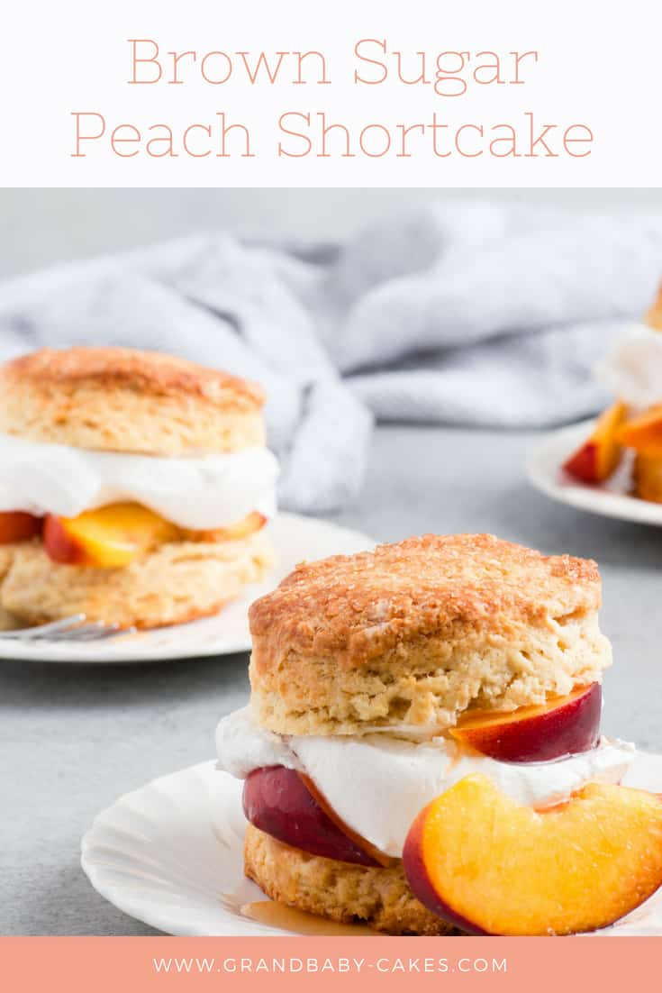 Brown Sugar Peach Shortcake Recipe- Buttery flaky shortcake biscuits get topped with brown sugar soaked ripe peaches and fluffy whipped cream for the ultimate summer delight. #peach #peaches #biscuit #shortcake