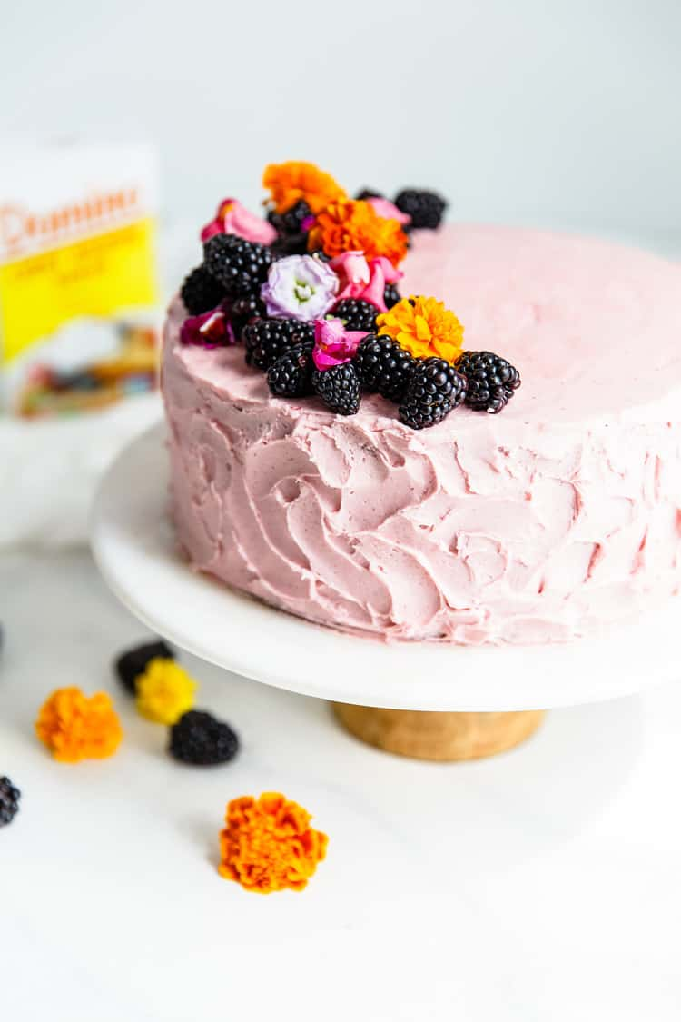 Homemade Chocolate Cake Recipe Topped With A Blackberry Buttercream