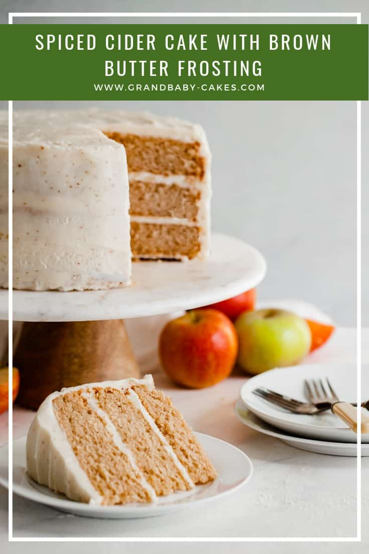 Spiced Cider Apple Cake Recipe with Brown Butter Frosting - A perfectly moist and tender fall cake flavored with apple cider and spices gets frosted with the most addictively creamy maple essenced brown butter frosting. Fall baking has never tasted so good! #apple #cider #fallbaking #cake #frosting