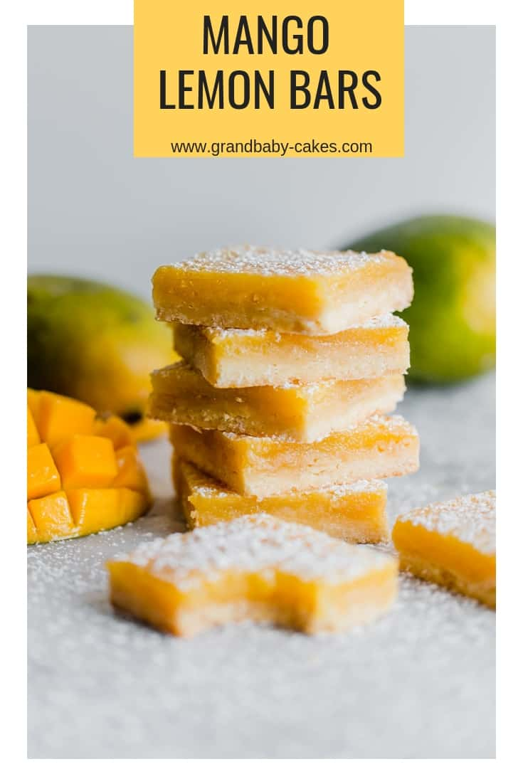 Mango Lemon Bars Recipe - The classic lemon bar gets a delish and unique update with the addition of fresh mango resulting in a sweet, creamy filling topped buttery shortbread crust. #bars #brownies #blondies #lemon #lemonbars #mango