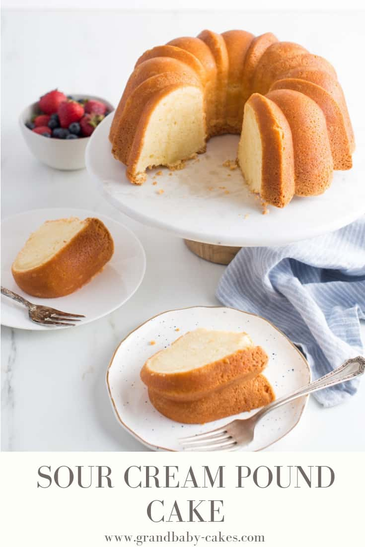 Sour Cream Pound Cake Recipe - This pound cake is velvety, buttery, rich and perfectly creamy filled with the moistness and flavor of sour cream.  This generational recipe will become a true classic in your family for years to come. #bundt #poundcake #baking #cake
