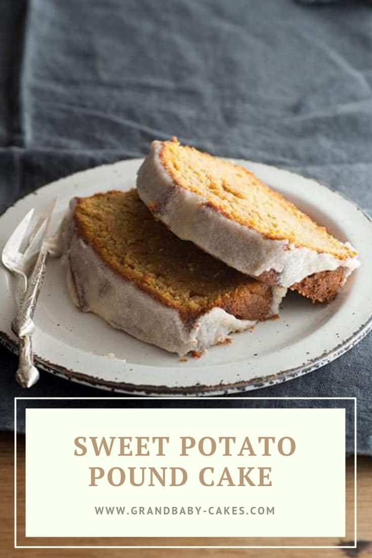 Sweet Potato Pound Cake Recipe - Million dollar pound cake made with silky smooth sweet potatoes and topped with a spiced brown butter glaze. Sweet potato dessert to the max! #sweetpotato #poundcake #cake