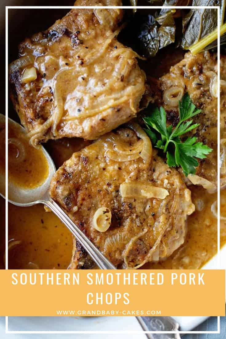 Southern Smothered Pork Chops Recipe - Lightly breaded pork chops are smothered in a rich savory and well seasoned brown gravy resulting in the perfect Southern classic. #pork #porkchops #southern #gravy