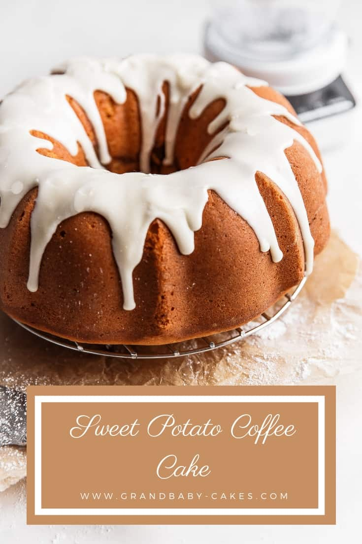 Sweet Potato Coffee Cake Recipe - A perfectly tender and moist sweet potato cake is highlighted by a ribbon of cinnamon spiced swirl and topped with an addictive maple glaze. #cake #coffeecake #sweetpotato