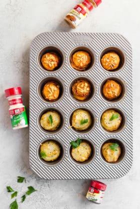 Baked Sweet Potato and Yukon Gold potato stacks baked in muffin pan