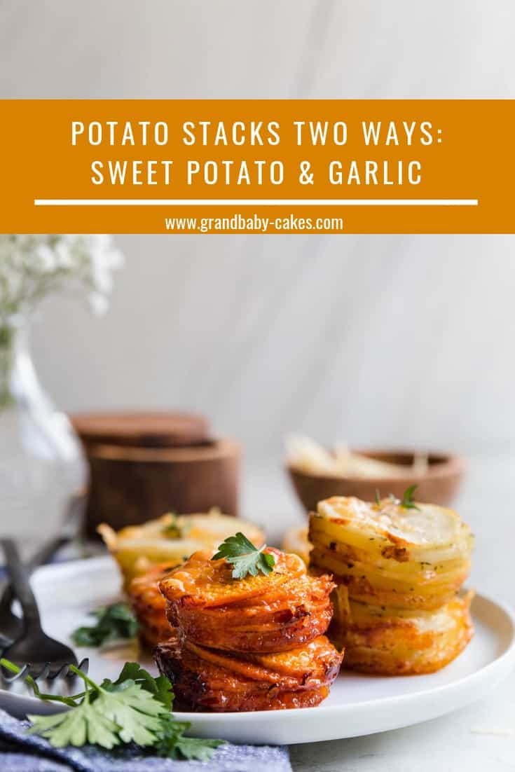 Easy Sweet Potato Stacks and Yukon Gold Garlic Potato Stacks filled with incredible spices and cheese flavor baked in the same muffin pan creating easy entertaining assistance for the holidays!  #recipe #potatoes #sidedish #thanksgiving