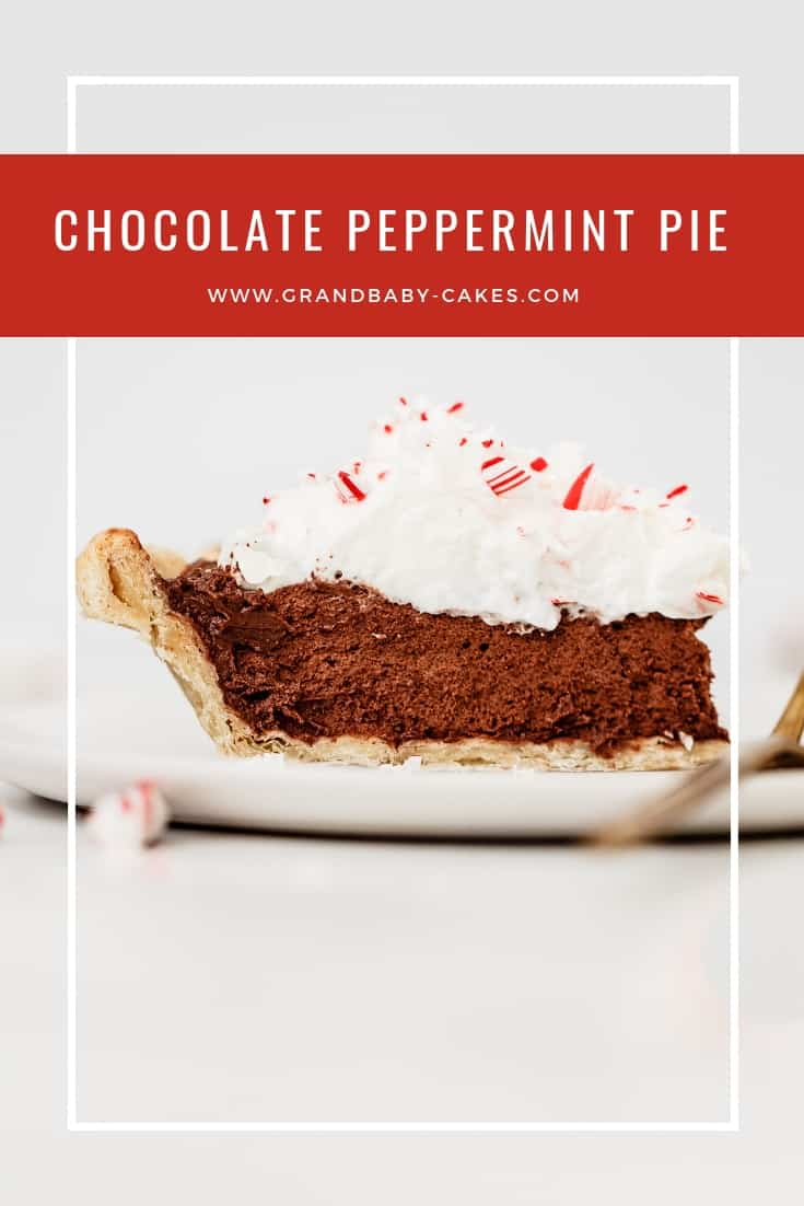 Peppermint Chocolate Pie Recipe - A melt in your mouth decadent chocolate creamy peppermint hinted filling offset by a buttery flaky crust topped with whipped cream! #pie #peppermint #chocolate #chocolatepie