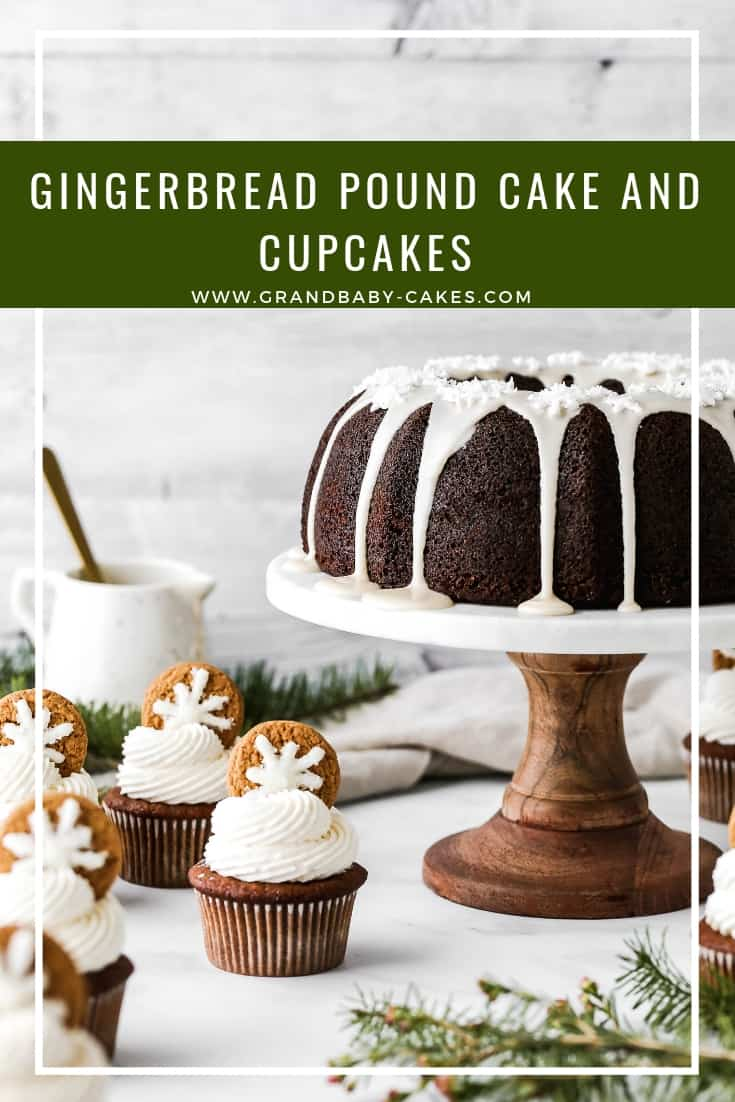 One moist, perfectly spiced gingerbread cake batter gets used two ways! Make the perfect gingerbread pound cake and wonderful, holiday-ready gingerbread cupcakes in the easiest way! #gingerbread #cupcakes #cake #bundt #poundcake