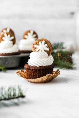 Close up of gingerbread cupcakes against white background