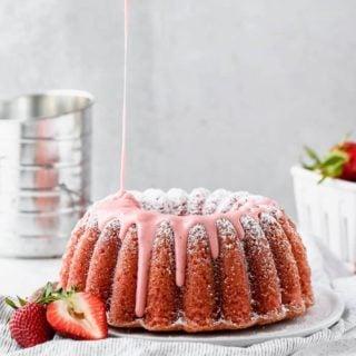 Fresh Strawberry Pound Cake Recipe with Strawberry Glaze poured over it