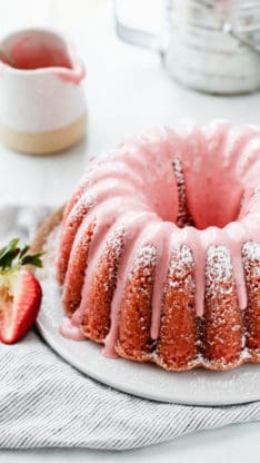 Close up on Fresh Strawberry Pound Cake recipe