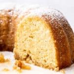 Close up of sliced Kentucky Butter Cake recipe