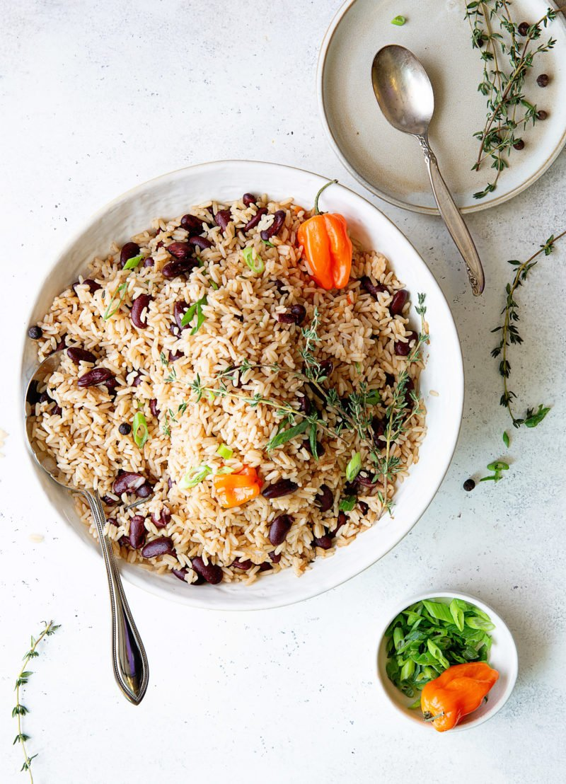 Overhead photo of white bowl of Rice and Peas