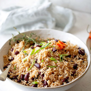 Close up of white bowl with rice and peas against white wall