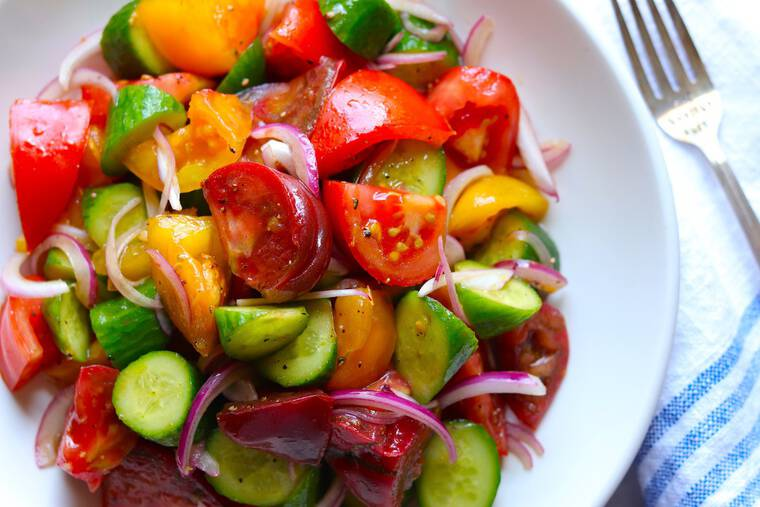 Labor Day Recipes Cucumber Tomato Salad from The Hungry Hutch