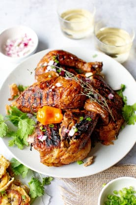 Shot of Jerk Chicken on white plate grilled and ready to serve