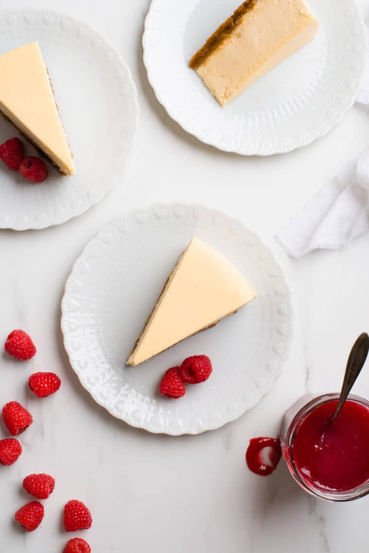 New York Style Cheesecake  e1567098432643 - The BEST Vanilla New York Cheesecake Recipe ONLINE! (Silky, Smooth and NO CRACKS!)