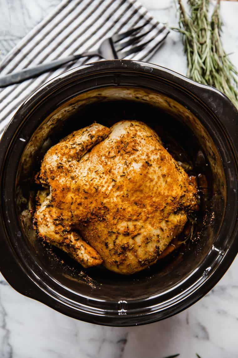 Completed Slow Cooker chicken after 8 hours - rosemary chicken recipe
