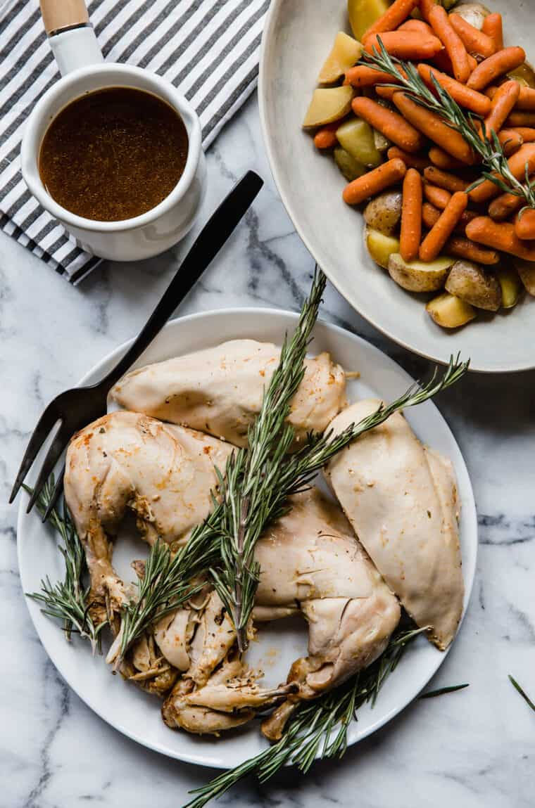 Rosemary chicken with skin removed and side of vegetables