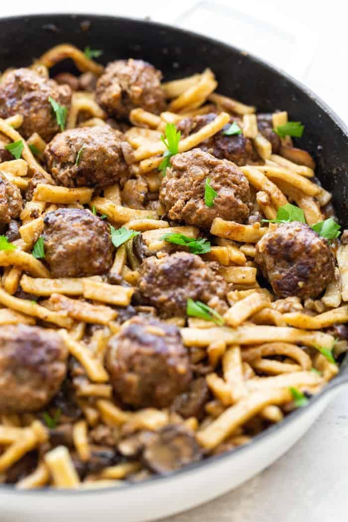 Salisbury Steak Meatball Noodle Skillet 2 - Salisbury Steak Meatball Noodle Skillet