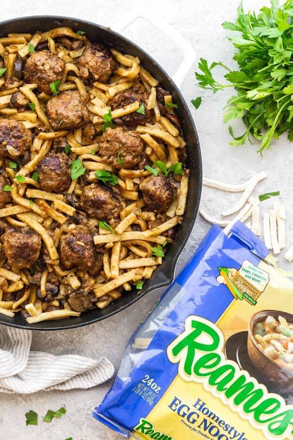 Salisbury Steak Meatball Skillet 3 - Salisbury Steak Meatball Noodle Skillet