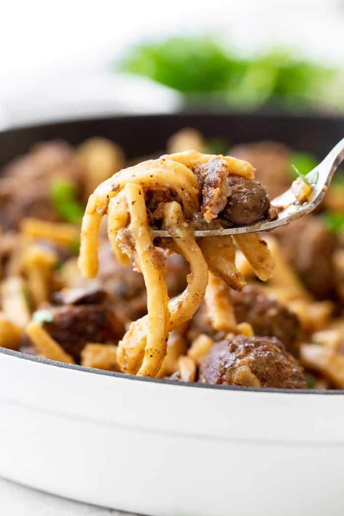 Salisbury Steak Meatball Skillet 4 - Salisbury Steak Meatball Noodle Skillet