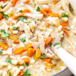 Creamy chicken noodle soup in large pot ready to serve
