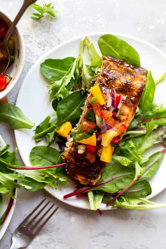 Jerk Salmon with Pineapple Salsa 1 - Jerk Salmon with Pineapple Salsa