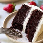 Dark chocolate cake being eaten with a fork