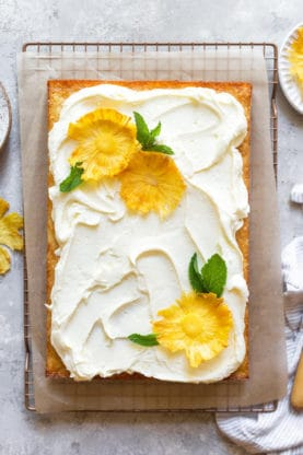 Pineapple Sheet Cake 1 277x416 - Pineapple Sheet Cake (Lighter and Full Fat Version)